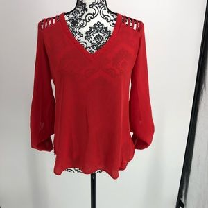 Lily White red cut out shoulder long sleeve blouse